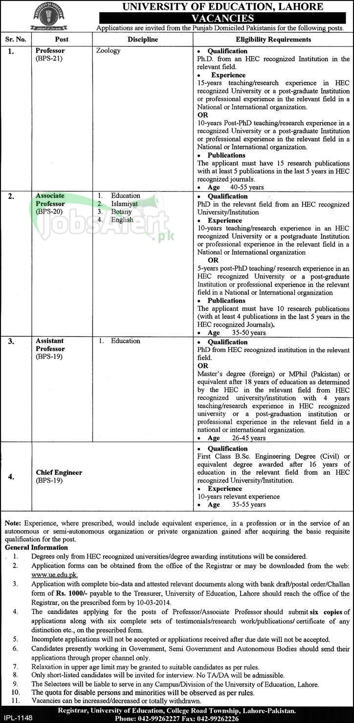 Professor & Engineer Jobs in University Of Education Lahore
