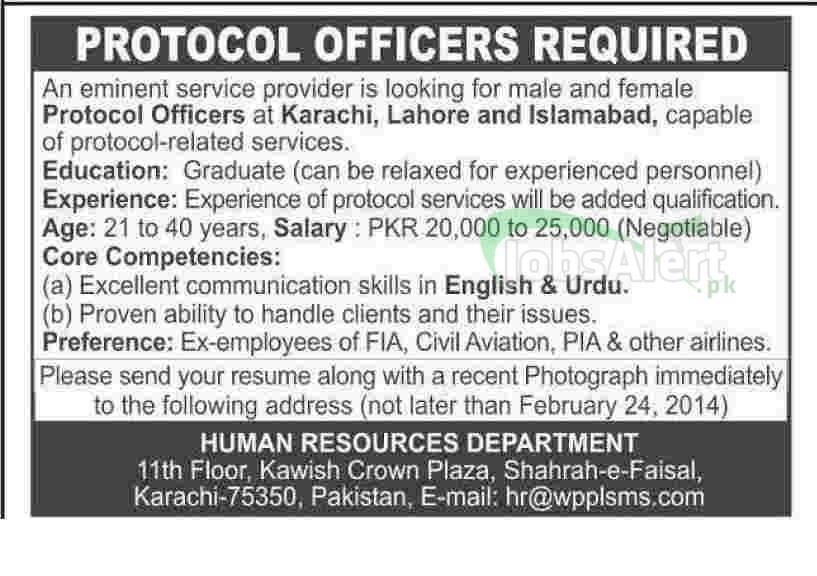 Protocol Officer Jobs 2014 in Service Provider Company Karachi