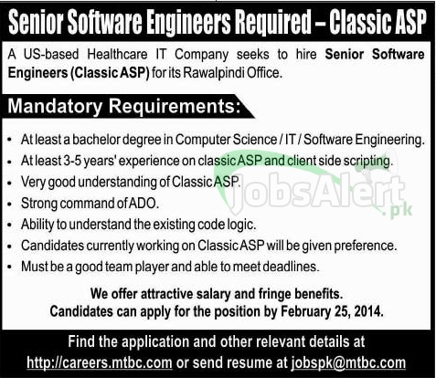 Software Engineer Jobs in Healthcare IT Company Rawalpindi