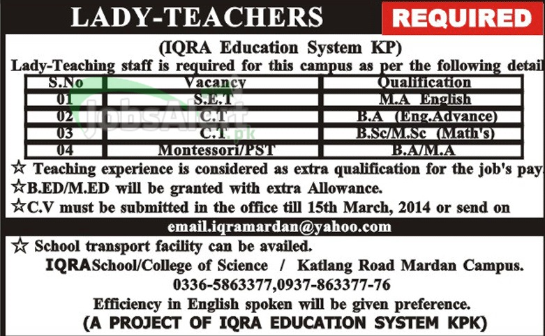 Teacher Jobs for Female in Iqra Education System Mardan KPK