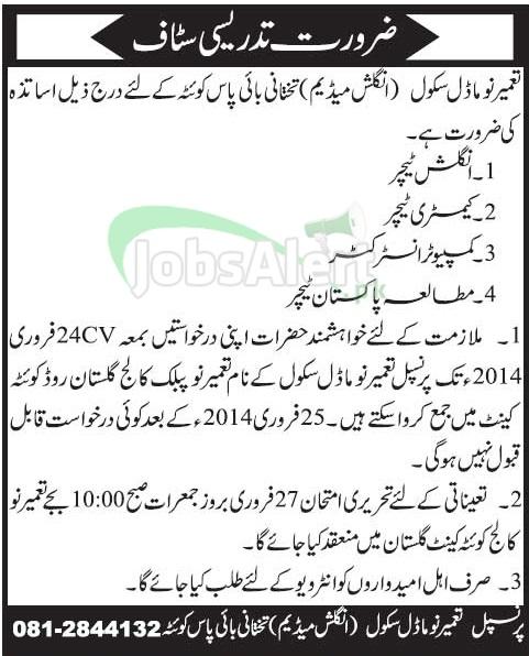 Teacher Jobs in Tameer-e-Nau Model School Quetta