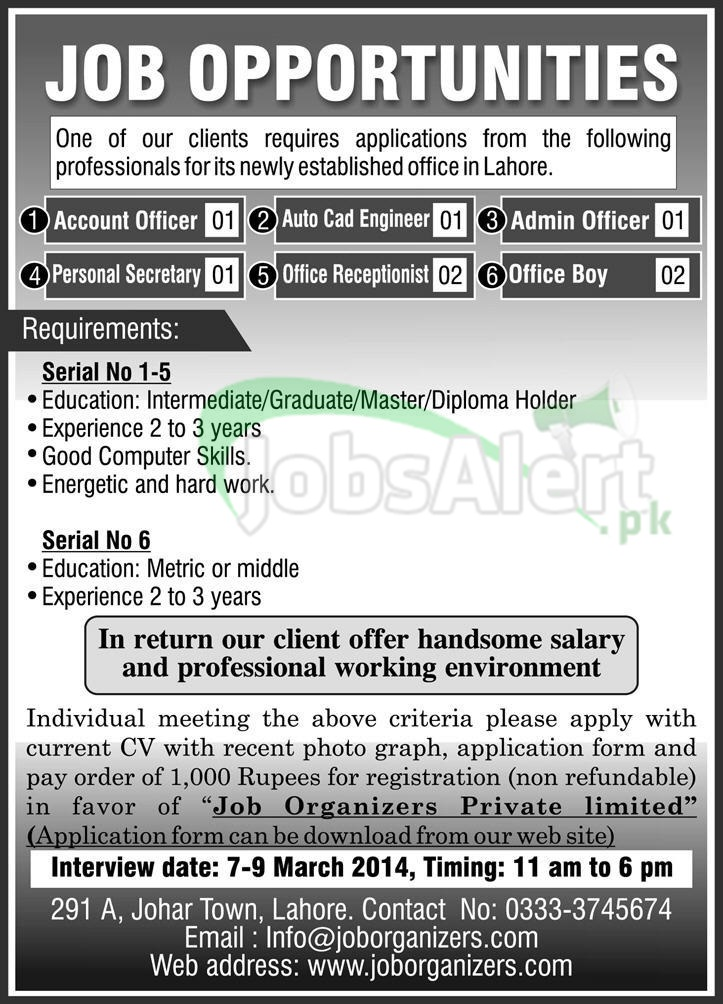 Account Officer & Auto Cad Engineer Jobs in Jobs Organizers LHR
