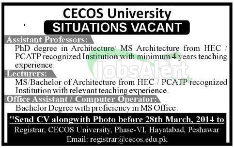 Assistant Professor & Lecturer Jobs in CECOS University Peshawar