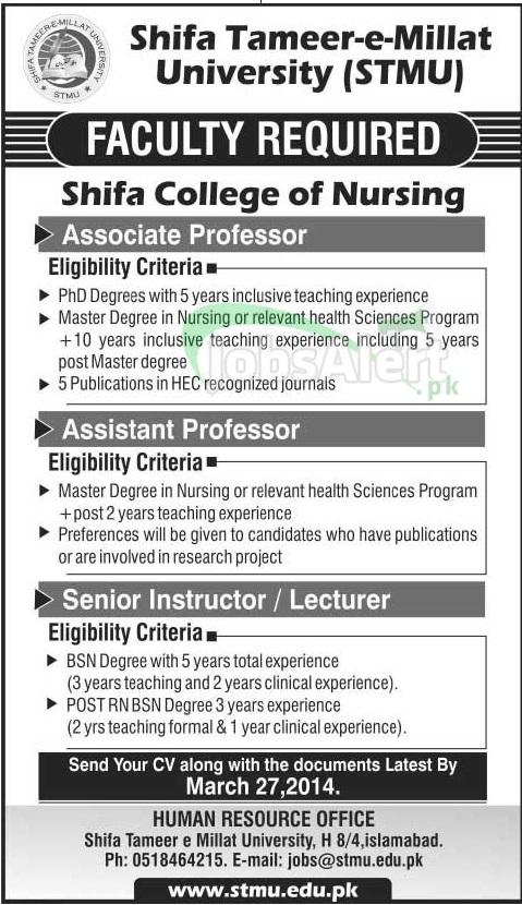 Assistant professor Jobs in Shifa Tameer e Millat University ISB