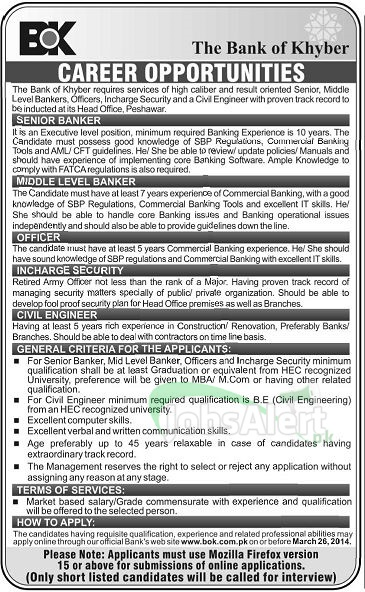 Banker Jobs in Bank of Khyber Peshawar Khyber Pakhtunkhwa