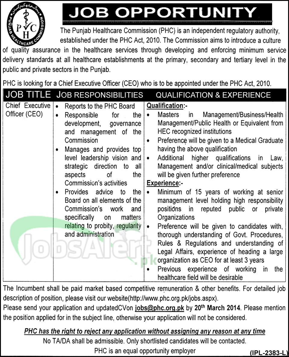 Chief Executive Officer Jobs in Punjab Healthcare Commission LHR