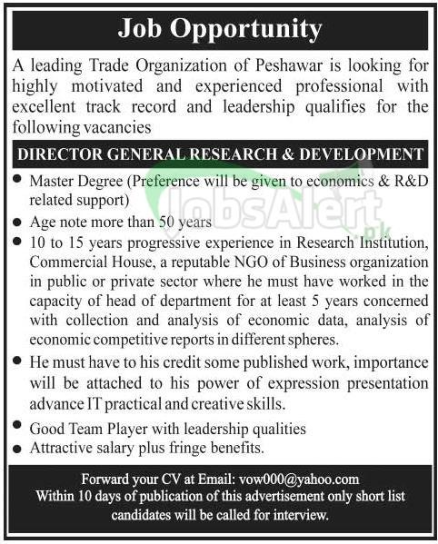 Director General Jobs in Trade Organization Peshawar KPK