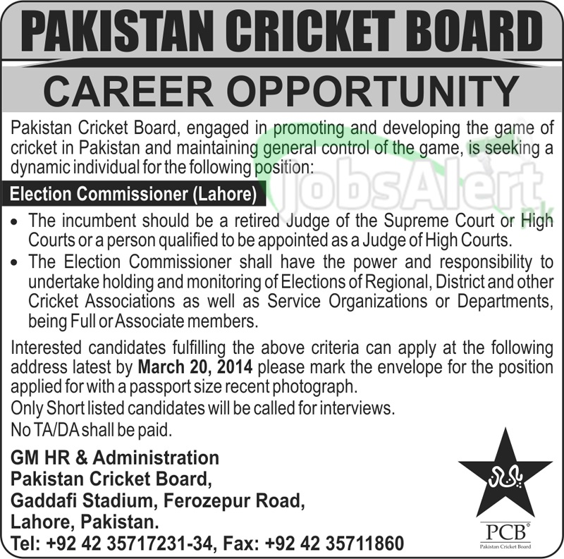 Election Commissioner Jobs in Pakistan Cricket Board Lahore