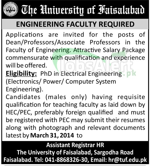Engineering Faculty Jobs in The University of Faisalabad FSD