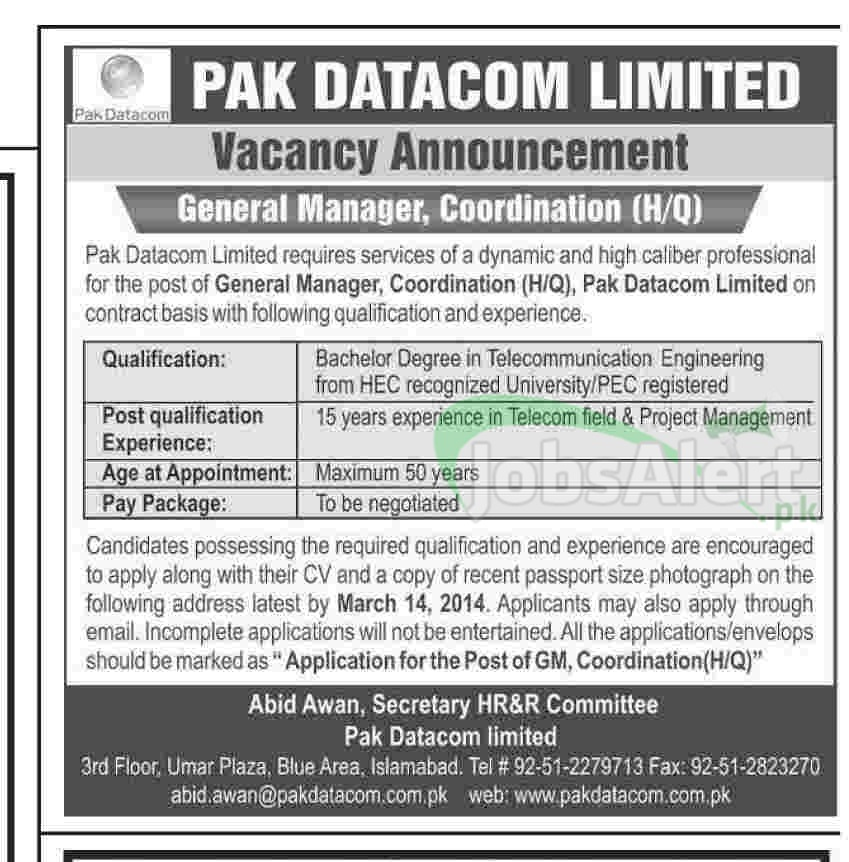 General Manager Jobs 2014 in Pak Datacom Limited Islamabad