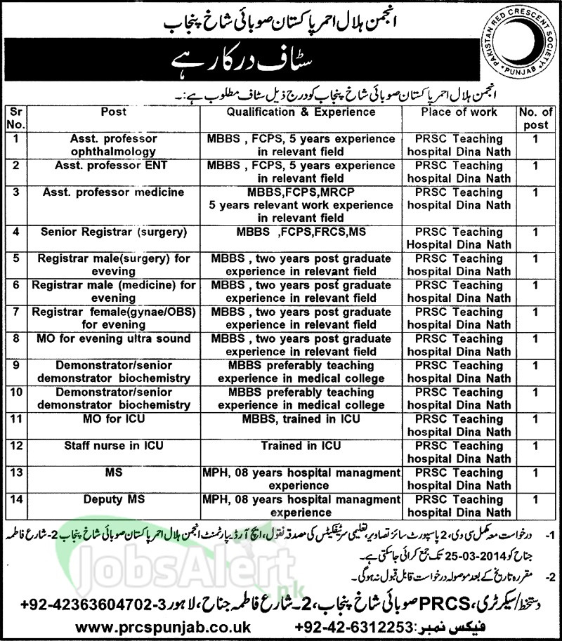 Government Jobs 2014 in Pakistan Red Crescent Society Lahore