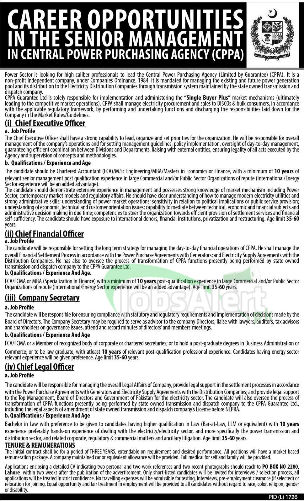 Govt. Jobs 2014 in Central Power Purchasing Agency Lahore