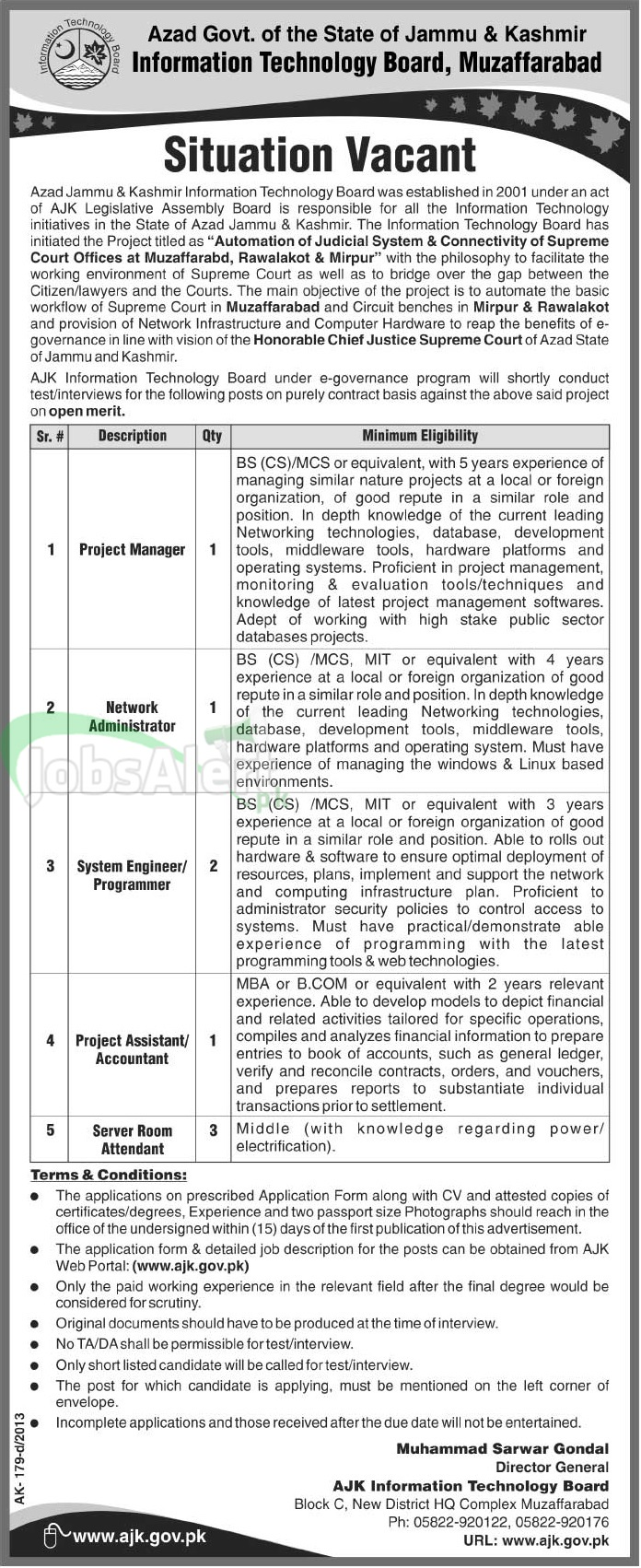Govt. Jobs in AJK Information Technology Board, Muzaffarabad