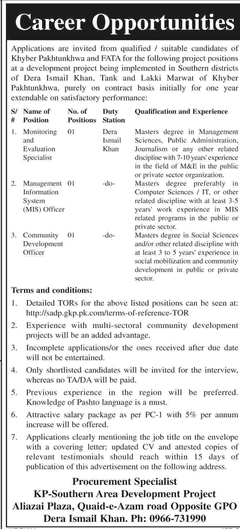 Jobs 2014 in Southern Area Development Project Govt of KPK