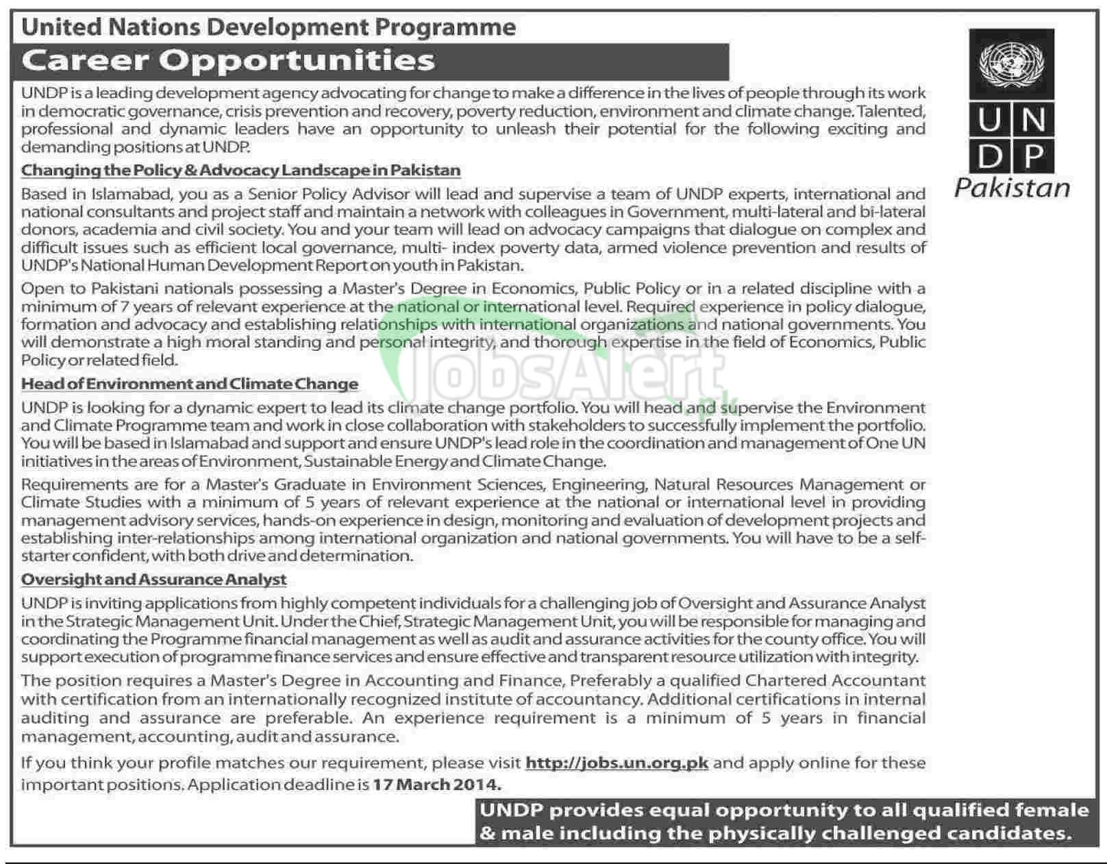 Jobs 2014 in United Nations Development Programme Pakistan