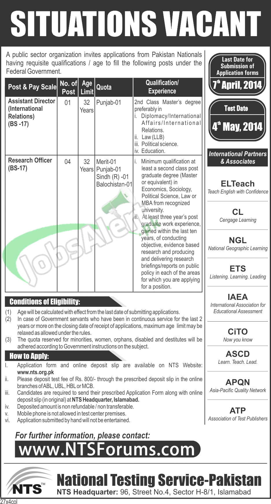 Jobs in Public Sector Organization 2014 for Assistant Director, Research Officer