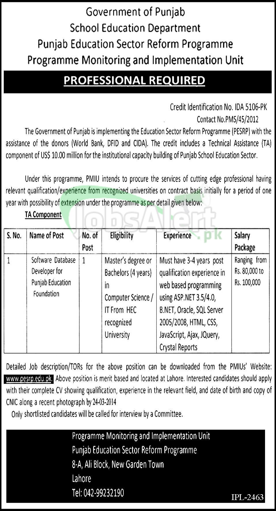 Jobs in Punjab Education Sector Reform Programme Govt of Punjab