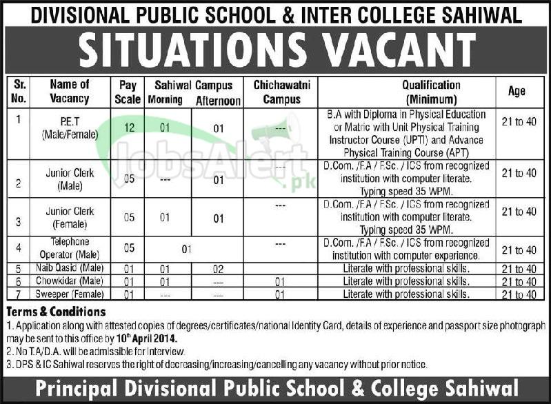 Junior Clerk Jobs in Divisional Public School & College Sahiwal