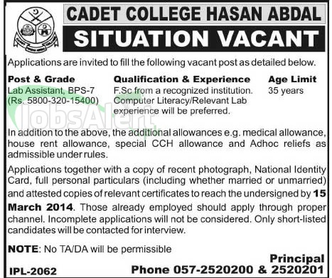 Lab Assistant Jobs 2014 in Cadet College Hasan Abdal