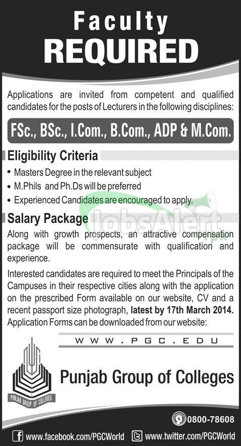 Lecturer Jobs in Punjab Group of Colleges Pakistan