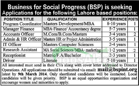 Manager Finance Jobs in Business for Social Progress Lahore