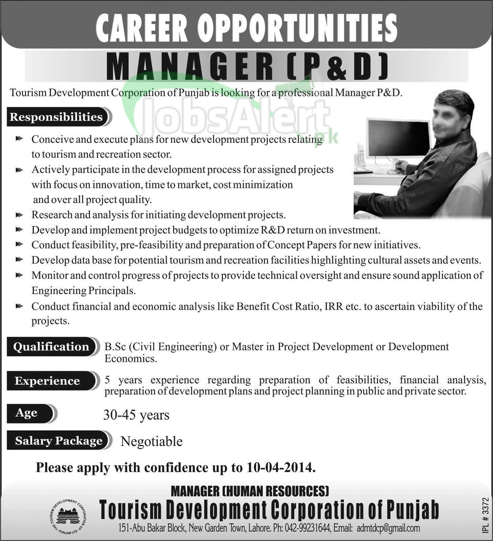 Manager Jobs in Tourism Development Corporation of Punjab Lahore