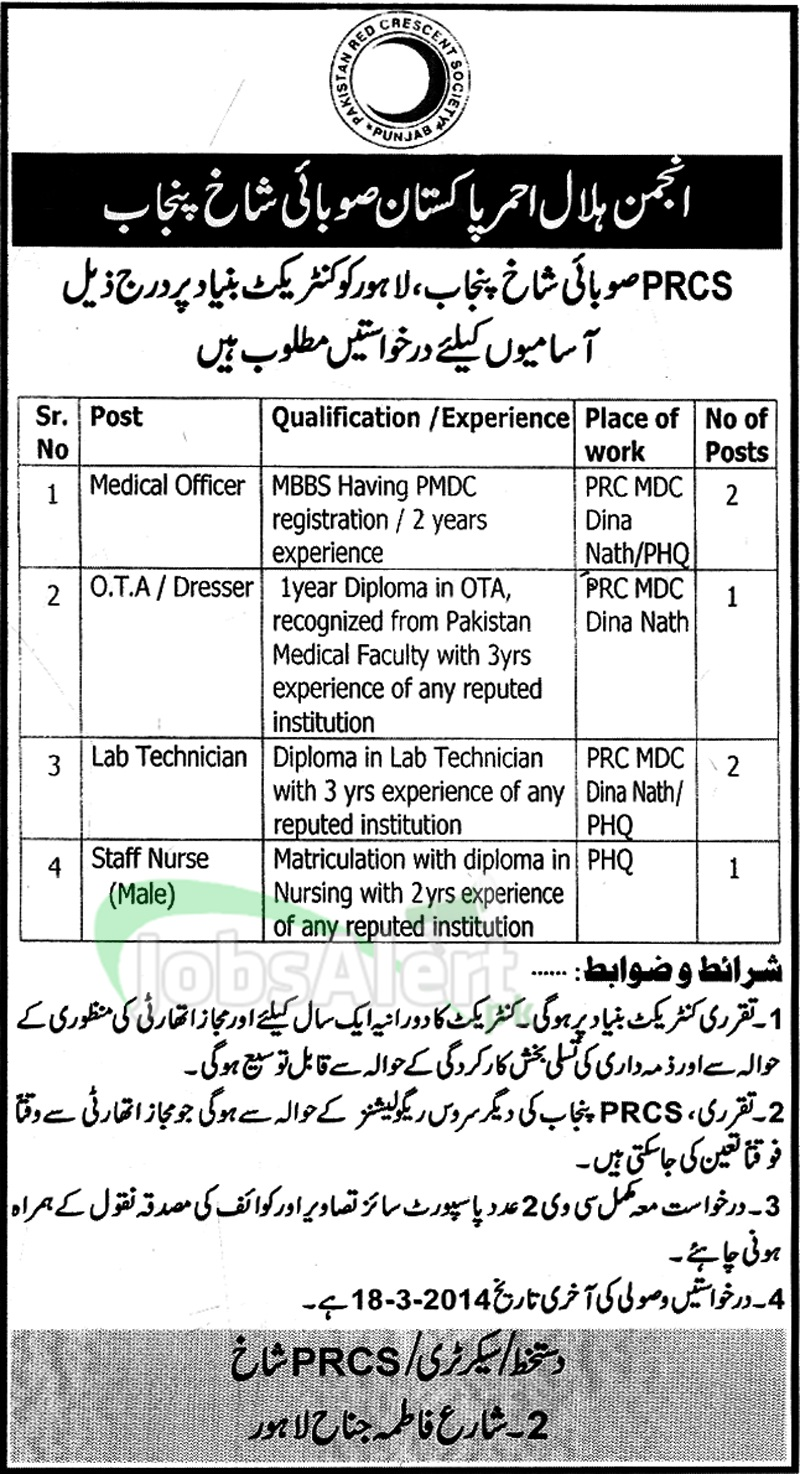 Medical Officer Jobs in Pakistan Red Crescent Society Lahore
