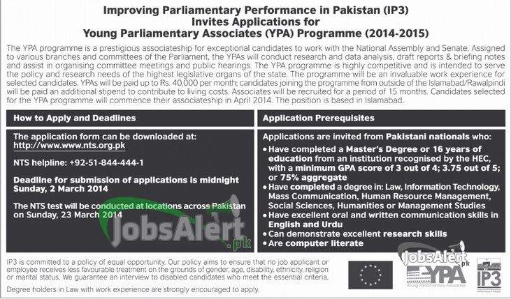 NTS (YPA) Young Parliamentary Associates Program Jobs 2014