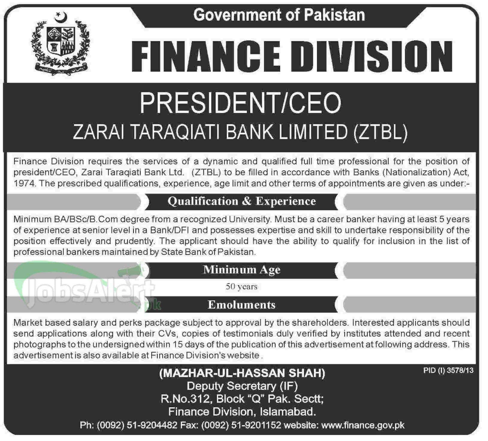 President  CEO Jobs in ZTBL Govt. of Pakistan Islamabad