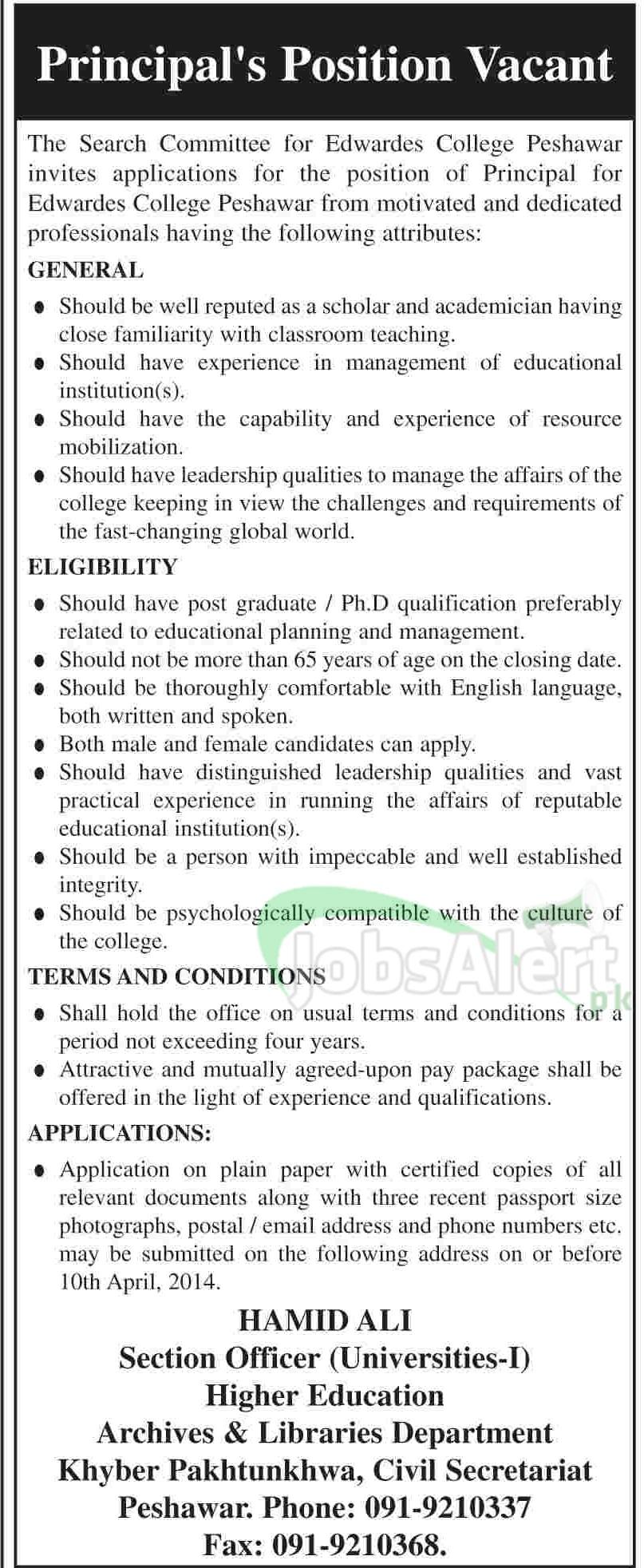 Principal Jobs in Edwardes College Peshawar Khyber Pakhtunkwa