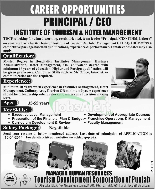 Principal Jobs in Institute of Tourism & Hotel Management LHR