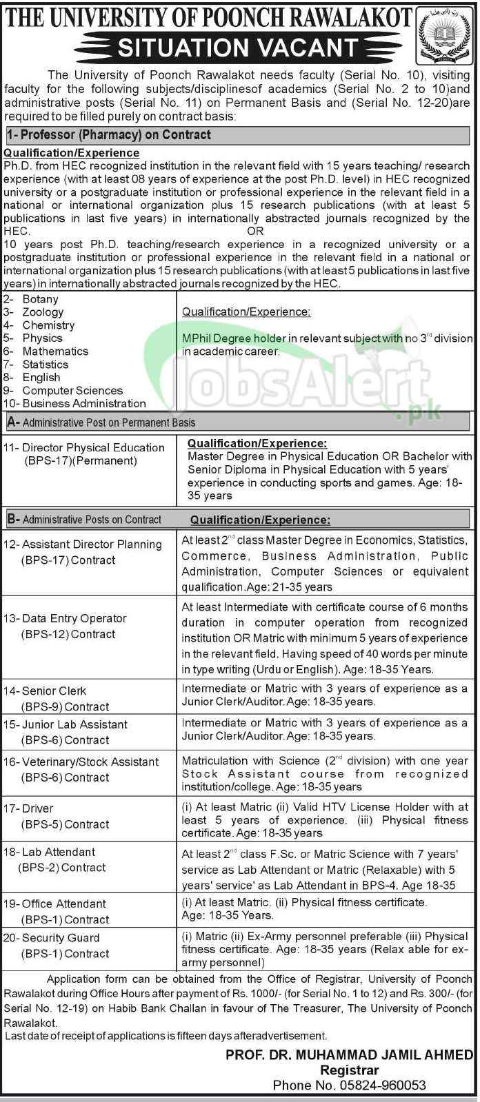 Professor & Assistant Jobs in The University of Poonch Rawalakot