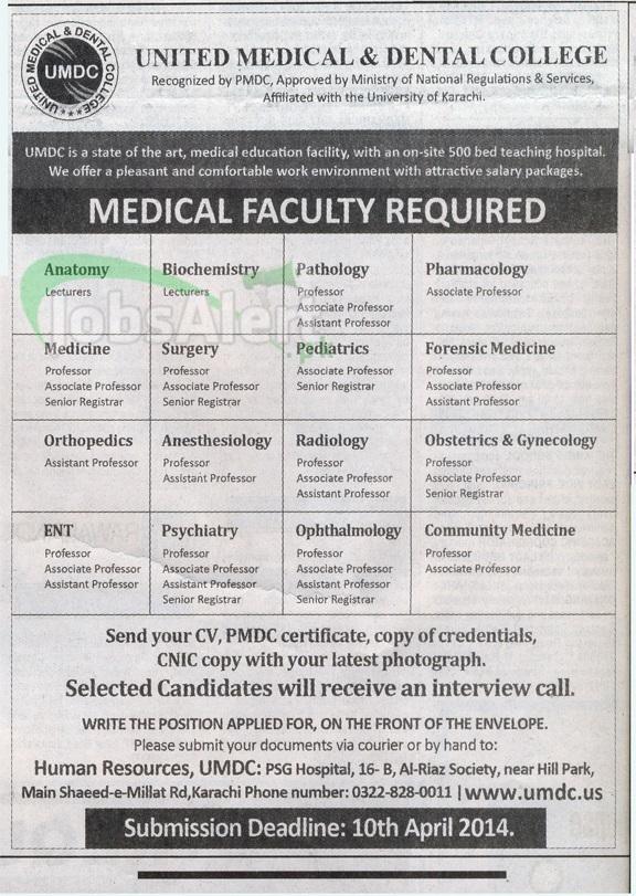 Professor Jobs in United Medical & Dental College Karachi