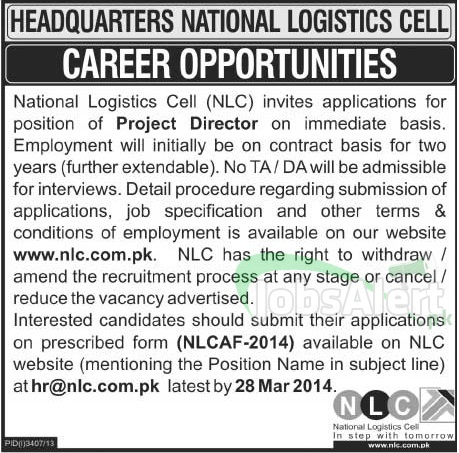 Project Director Jobs in National Logistics Cell Pakistan