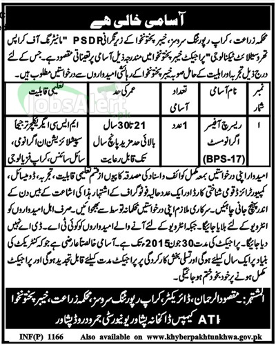 Research Officer Jobs in Agriculture Department Peshawar KPK