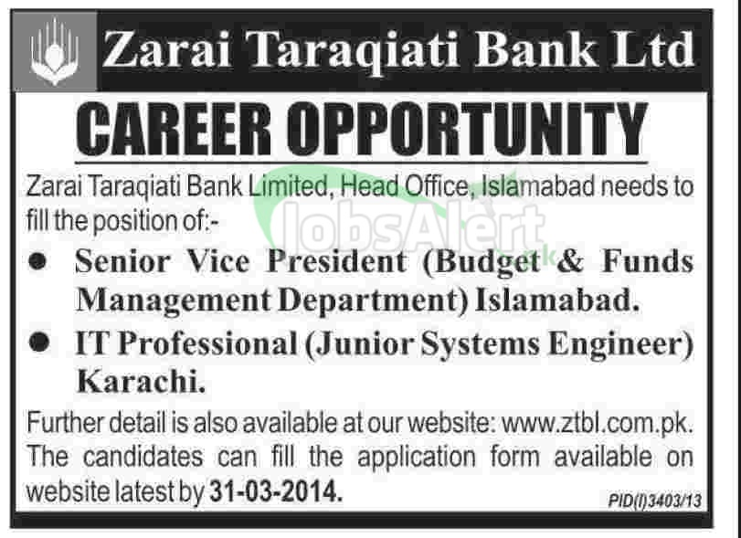 Senior Vice President Jobs in Zarai Taraqiati Bank Ltd Islamabad