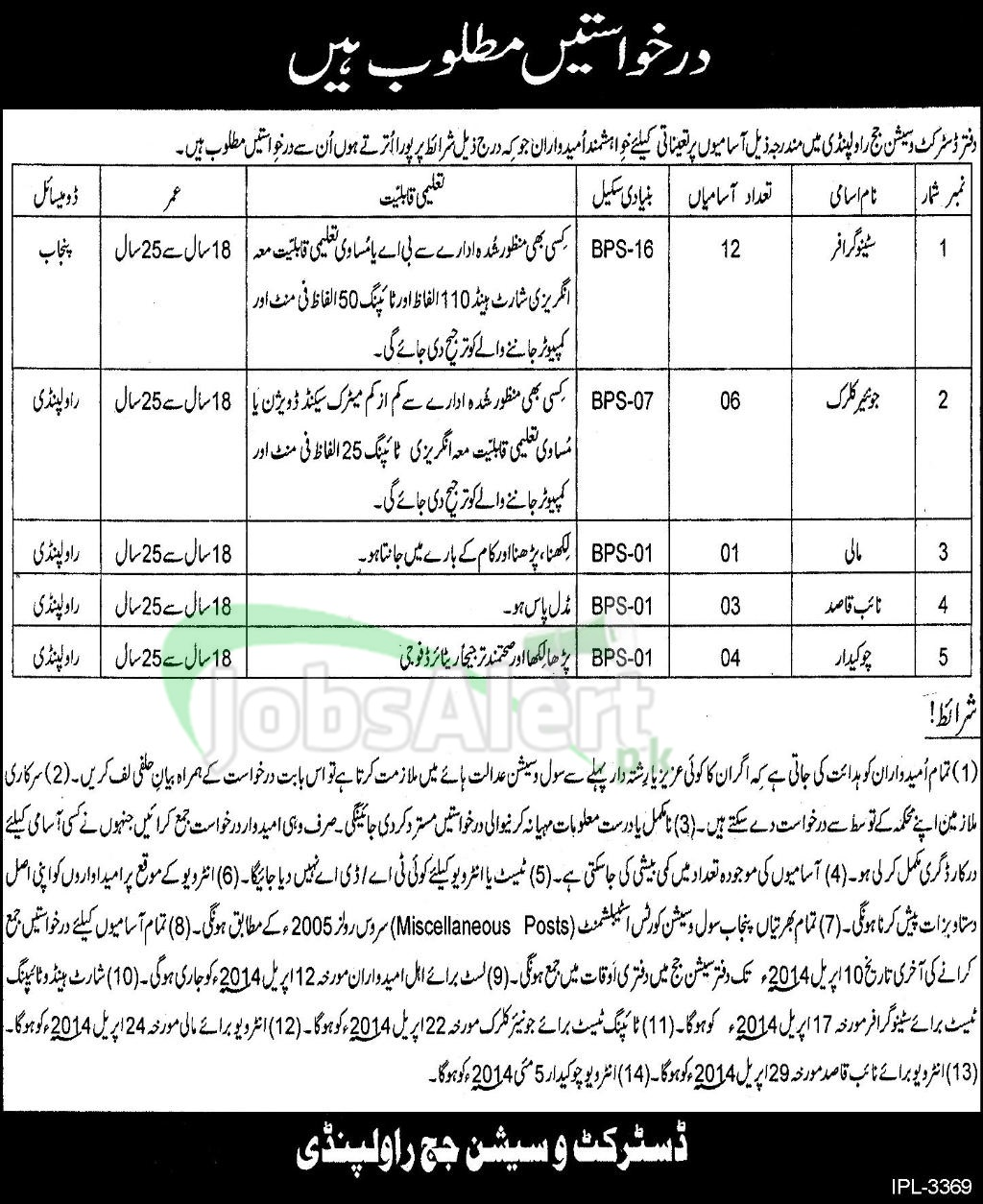 Stenographer Jobs 2014 in District & Session Judge Rawalpindi