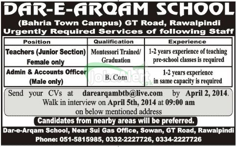 Teacher & Accounts Officer Jobs in Dar-e-Arqam School Rawalpindi
