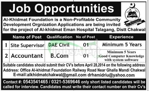 Accountant Jobs in Al-Khidmat Foundation 2014 Chakwal
