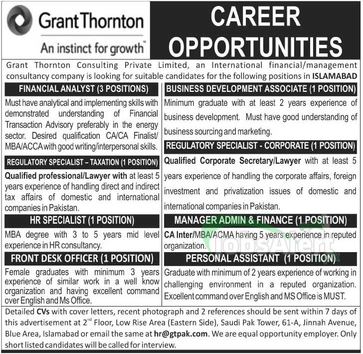 Assistant Jobs in Grant Thornton Consulting Pvt. Ltd. Islamabad