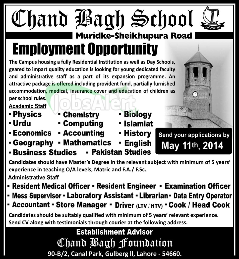 Chand Bagh School Jobs for Teaching Staff & Accountant Lahore