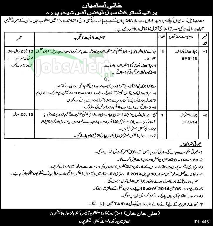 District Civil Defence Jobs 2014 Govt. of Punjab Sheikhupura