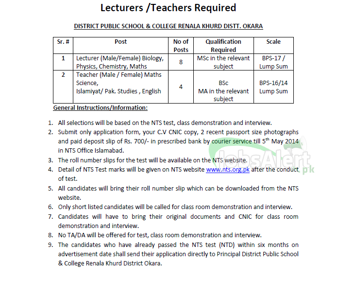 District Public School & College Jobs for Lecturer (NTS) Okara