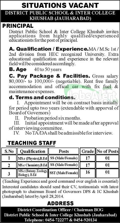 District Public School & Inter College Jobs Teachers 2014 Khushab