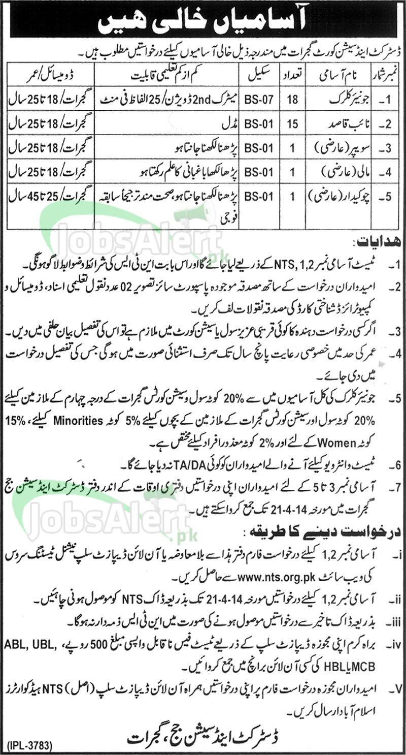 District & Session Court Jobs 2014 NTS in Gujrat