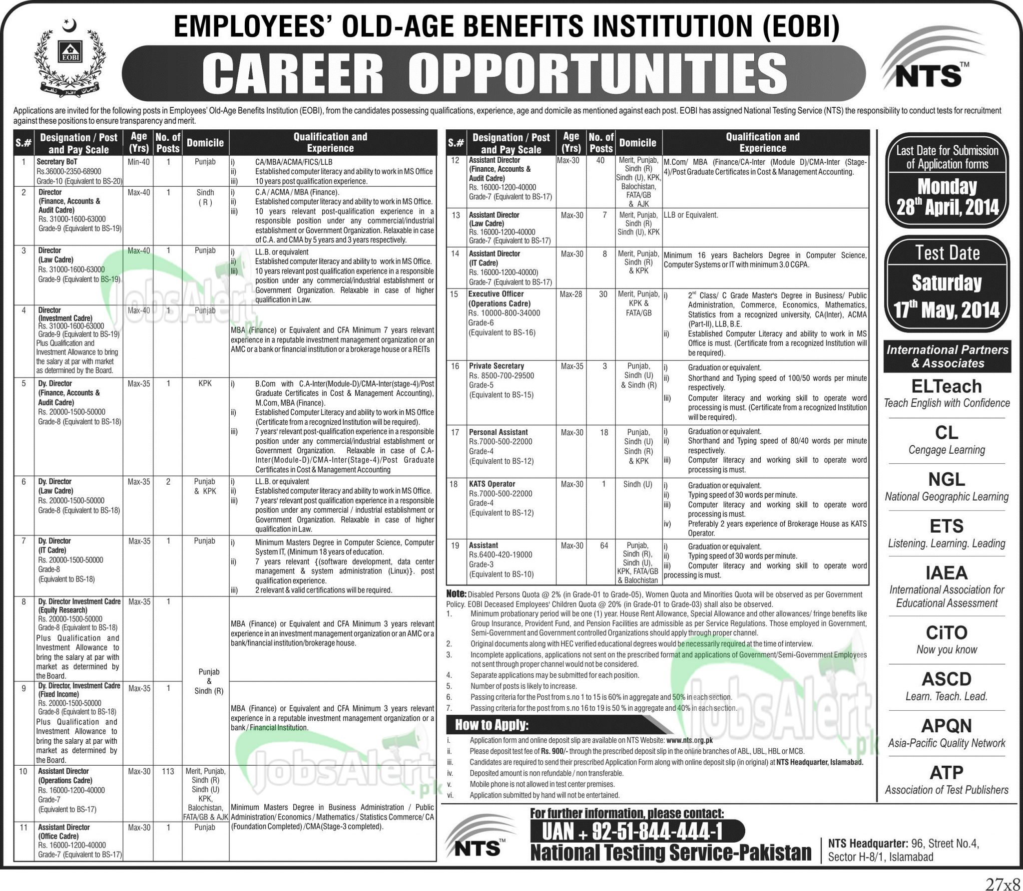 Employees Old Age Benefits Institution (EOBI) Jobs 2014 NTS