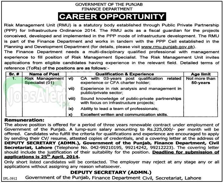Finance Department Jobs 2014 Govt. of the Punjab Lahore