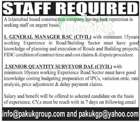 General Manager Jobs in Construction Company 2014 Islamabad