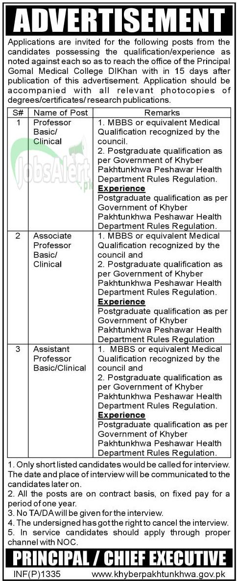 Gomal Medical College Jobs 2014 for Professor in DI Khan KPK