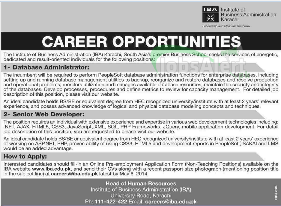 Institute of Business Administration (IBA) Jobs 2014 Karachi